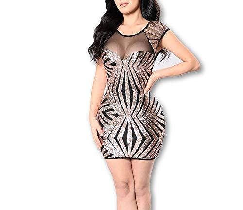 Carolina Dress Vestidos Cortos De Mujer Sexys Dorados Negros Ropa De Moda para Fiesta Noche Elegantes Casuales Formales (Gold, L)