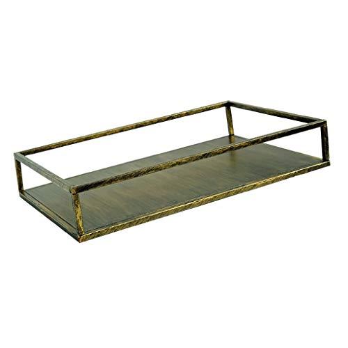 Fenteer Rechteckig deko Serviertablett Aufbewahrungsbehälter Bronze Rechteck L