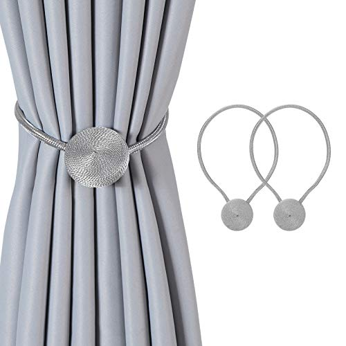 Hopeseily Stronger Magnetic Curtain Tiebacks, Convenient Curtain Holdbacks Round Rope European Simple Style Drape Tie Backs for Window Décor(2 Pack, Gery)