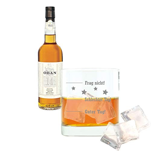 Whiskey 2er Set, Oban 14 Years / Jahre, Single Malt, Whisky, Scotch, Alkohol, Alokoholgetränk, Flasche, 43%, 200 ml, 581375, Geschenk zum Vatertag, mit graviertem Glas