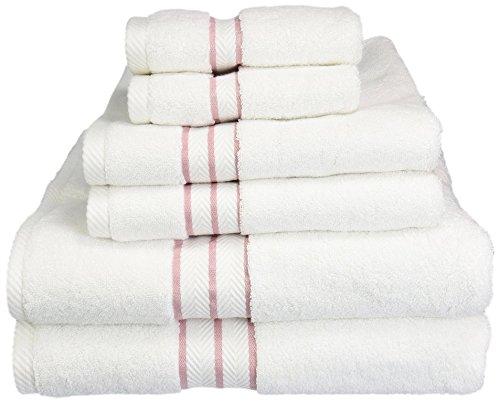 "SUPERIOR Long-Staple Combed Cotton Towel Set, Face Towels 13"" x 13"", Hand Towels 20' x 30', Bath Towels 30"" x 55"", White with Black Border, 6-Pieces"