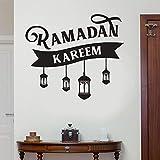 yiyiyaya Ramadán Kareem Etiqueta de La Pared Islámica Árabe Luz de La Lámpara Decoración para el hogar escaparate calcomanía de Vinilo Religión Puerta Arte de la Pared 72x83cm