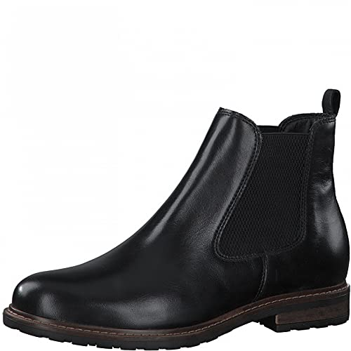 Tamaris Damen Stiefeletten, Frauen Chelsea Boots,uebergangsstiefel,Schlupfstiefel,flach,Boots,Stiefel,Bootee,Booties,Black Leather,39 EU / 5.5 UK