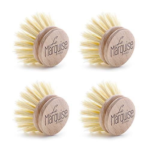 4 Cabezas de Recambio para Cepillos de Madera Eco-Responsable, Fibras 100% Vegetales – 4 Brochas de Cocina – Fabricadas en Francia – Diseñadas exclusivamente para los cepillos La Marquise Paris