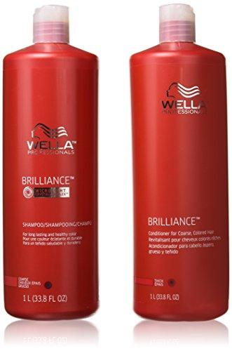 WELLA Brilliance Shampoo & Conditioner Coarse Colored Hair,Liter Duo 33.8 oz