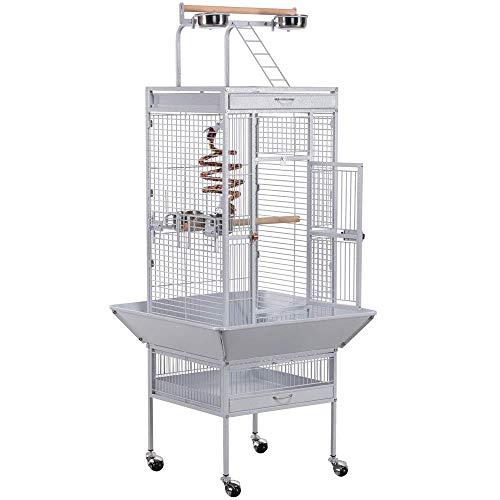 Yaheetech Gabbia Voliera per Uccelli Pappagalli Grande Bianca con Piedistallo/Supporto Ruote in Metallo e Legno da Interno e Esterno 45,5 x 45,5 x 157 cm