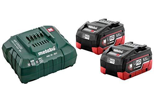 METABO 685122000 - Set baterías y Cargador Basic 18V 2X LiHD 5.5Ah + Cargador ASC 145