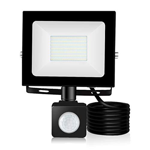 100W LED Flutlichter mit Bewegungssensor, 10000LM 6500K IP65 Wasserdichte Sicherheitsbeleuchtung im Freien Helle Scheinwerfer für Garten, Garage, Landschaft, Anschlagtafel, Hotel