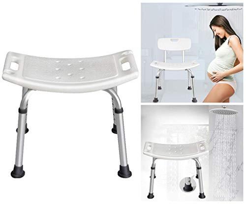 SEESEE.U Bad Rutschfester Hocker, verstellbare Duschbank/tragbarer medizinischer Hocker mit Verstellbarer Rückenlehne und Armlehne, behindertengerechte Duschsitze für Erwachsene (weißer Hocker)