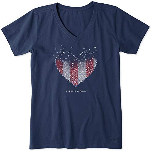 Life is Good Women's Standard Crusher V-Neck Graphic T-Shirt, Darkest Blue, X-Large