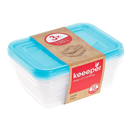 keeeper Set de 3 Fiambreras, 3 x 1,25 l, 20,5 x 15,5 x 6,5 cm, Fredo Fresh, Azul transparente