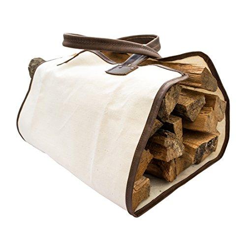 Langlebige Brennholztasche aus Segeltuch mit Leder-Ummantelung von Hide & Dring (Bourbon Braun)