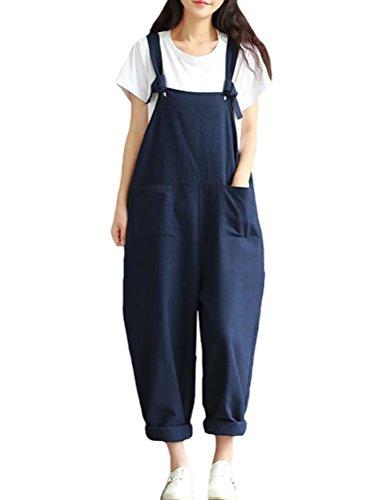 Vogstyle Damen-Overall, lässiger Druck, Denim-Hose Gr. Größe, Style 12-blau