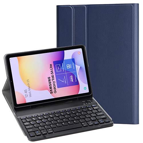 KILISON Tastiera Custodia per Samsung Galaxy Tab S6 Lite 10.4 2020 Cover, Slim Pelle PU Case [QWERTY Layout] con Rimovibile Wireless Keyboard Tastiera per Samsung Galaxy Tab S6 Lite 10.4, Blu
