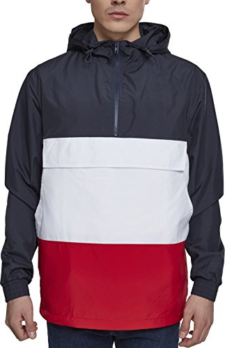 Urban Classics Herren Windbreaker Color Block Pull-Over Jacket, leichte Streetwear Schlupfjacke, Überziehjacke für Frühjahr und Herbst - Farbe navy/fire red/white, Größe L