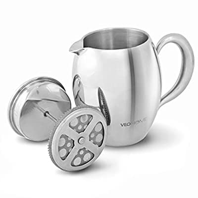 Cafetiere French Press Coffee Maker by VeoHome - Unbreakable and keeps coffee hotter for a long time thanks to its double wall (0.75 Liter)