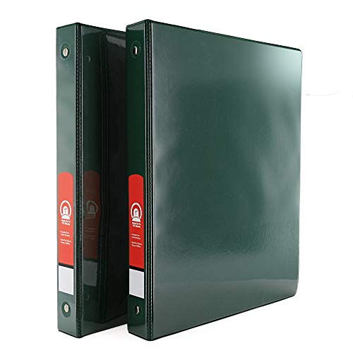 """Emraw Super Great 1"""" 3-Ring View Binder with 2-Pockets - Available in Green - Great for School, Home, & Office (2-Pack)"""