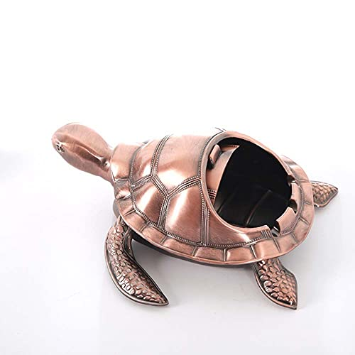 KSSTOO Turtle Ashtray for Cigarettes Creative Craft Decoration Windproof with Lid Vintage Metal Retro Tortoise Design Table Cigarette Outdoor Indoor (Red Bronze)