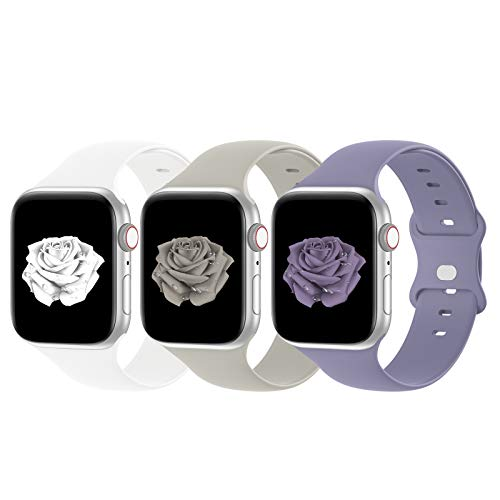 Bandiction Compatible with Apple Watch Bands 38mm 40mm iWatch Bands 42mm 44mm Women Men, Soft Silicone Sport Replacement Strap Compatible for Apple Watch SE Series 6 5 4 3 2 1, Sport Edition, 3 Pack