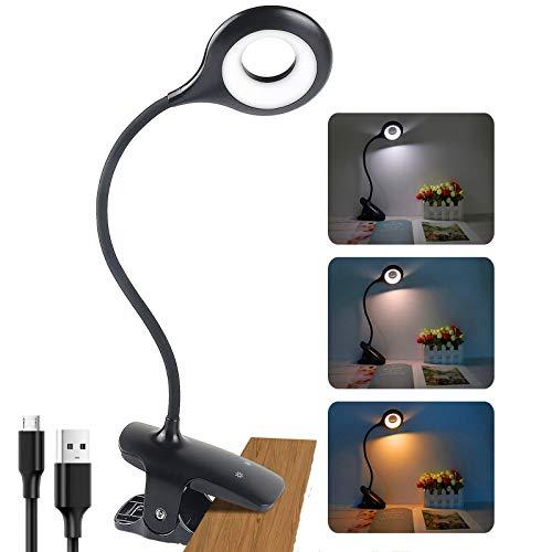 Leselampe 28 LEDs Klemmleuchte Led Bett USB Wiederaufladbar, 3 Farben mit 3 Helligkeit klemmlampe Schreibtischlampe, 360° Flexibel Augenschutz Dimmbare Bettlampe für Nachttisch Bett