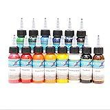 VDSOIUTYHFV Kit de Tintas para Tatuaje Tattoo Ink Set 30 ml 1 oz 14 Botellas Conjunto Pigmentos para Tatuaje Tattoo Ink Kit Primarios 14 Colores Suministros