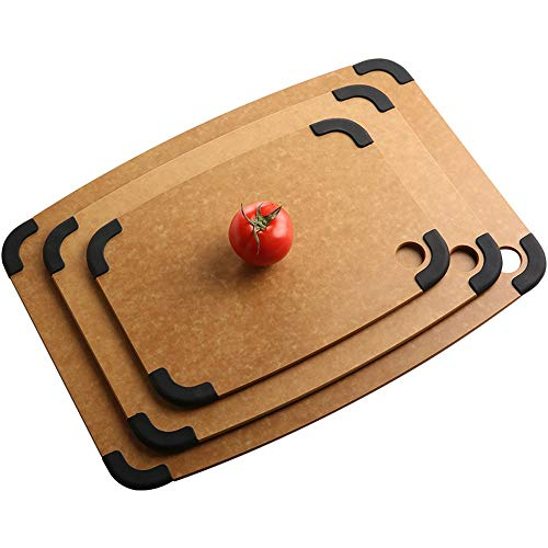 Peggy Gu-wok Jugo de Groove Antideslizante Tabla de Cortar Tabla de Cortar con tapetes Antideslizantes extraíbles para Carne, Queso, Verduras (Color : Picture Color, tamaño : 44.3 * 32.5 * 0.6cm)