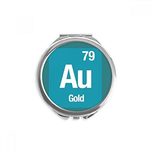 DIYthinker Au Gold-chemisches Element Wissenschaft Spiegel Runde bewegliche Handtasche Make-up 2.6 Zoll x 2.4 Zoll x 0.3 Zoll Mehrfarbig