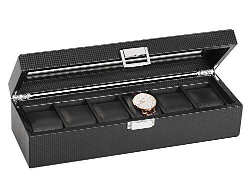 SWEETV Uhrenbox für 6 Uhren Schwarz Uhrenkoffer Kohlefaser Uhrenkasten Uhrenschatulle Schmuckkästchen Uhrenaufbewahrung