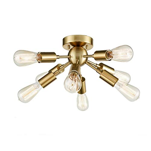 Vintage Deckenleuchte Retro Deckenlampe esszimmer 8-Flammige Kronleuchter Pendelleuchte lampe Hängelampe Kugel Kronleuchter E27 Metall Für Wohnzimmer Schlafzimmer Küchentisch leuchtmittel (Gold)