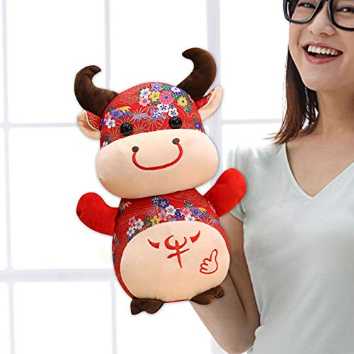 Chinesisches Neujahr Rot Ochsen Ornament Dekorationen, Plüsch Vieh Ochsen Kuscheltiere Maskottchen Spielzeug, 2021 Chinesisches Neujahr Tierkreis Tier Plüsch Vieh Ochsen Spielzeug 9,84 Zoll