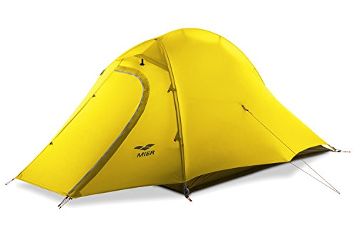 MIER 2 Person Camping Tent with Footprint Waterproof Backpacking Tent, Lightweight and Quick Setup, Yellow, 3 Season