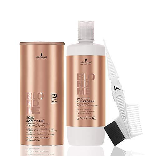 Price comparison product image Schwarzkopf BlondMe Powder Bleach Premium Lightener 9+ Bond Enforcing Dust Free 900g,  Schwarzkopf BlondMe 2% / 7 Volume Premium Developer 1 Liter,  M Hair Designs Tint Brush / Comb (Bundle - 3 items)