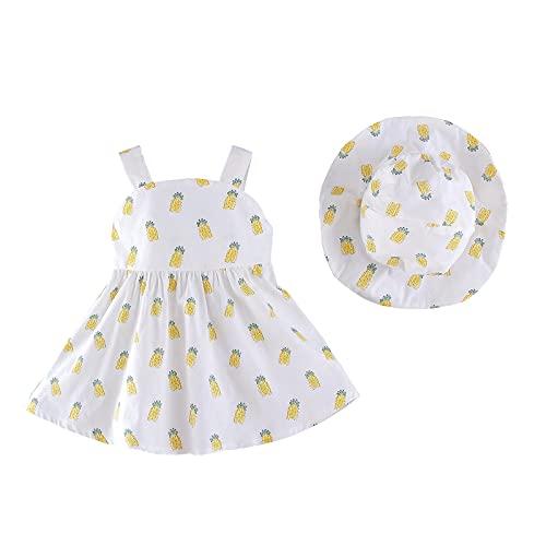 Beudylihy Vestido de verano para niña, sin mangas, con estampado de piña, con volantes, vestido de verano de una sola pieza, sombrero, ropa con sombrero para el sol. amarillo 12-24 meses