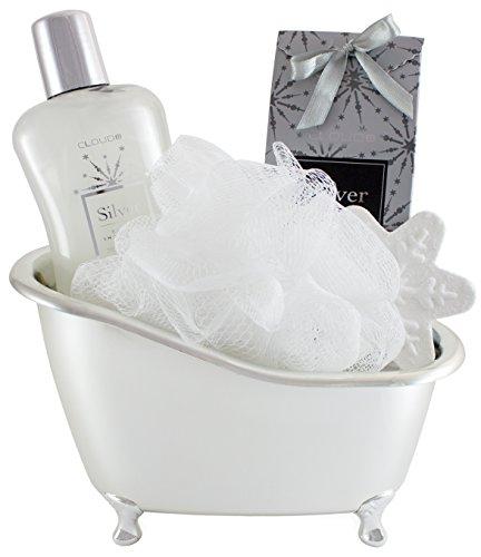 BRUBAKER Cosmetics 5-teiliges 'Vanilla' Bade-Geschenkset mit Badewanne silberfarben