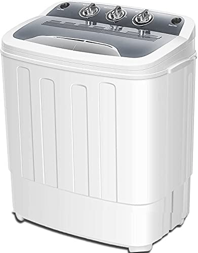 portable clothes washers Cirstore Portable Washing Machine Double Bathtub 12.4 Lbs Compact Mini Washer and Dryer Combo with Timer Control,Clothes Washing Machine for Apartment Dorm RV Camping