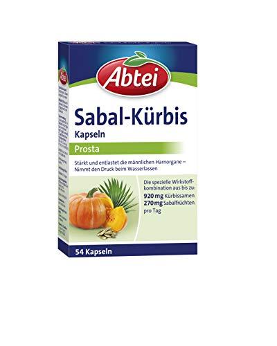 Abtei Sabal-Kürbis-Kapseln - stärkt und entlastet die männlichen Harnorgane – kann sich positiv auf das Blasen-Prostata-System auswirken - 1 x 54 Kapseln