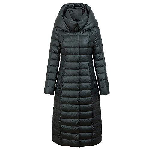 ZWHDS donsjack voor dames, knielengte met capuchon, lange donsjas in de buitenlucht en winterkleding, warm te houden