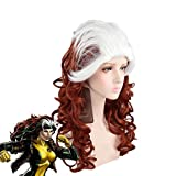 X-Men the Avengers Annual Anna Marie Cosplay Wig White Gradient Brown Long Curly Synthetic Hair Rogue Role Play Costume Wigs E411