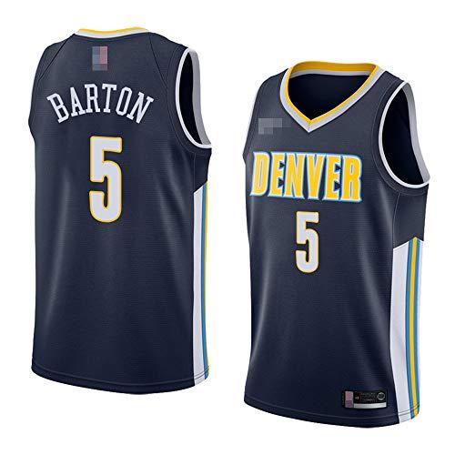 LYY Jerseys Men's, NBA Denver Nuggets # 5 Will Barton - Uniformes De Baloncesto Camisetas De Deporte Sin Mangas Clásicas Y Camisetas Cómodas,Azul,S(165~170CM)