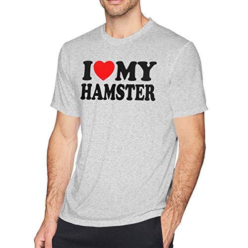 I Love My Hamster Camisetas de Manga Corta para Hombre Camiseta Ajustada para Hombre