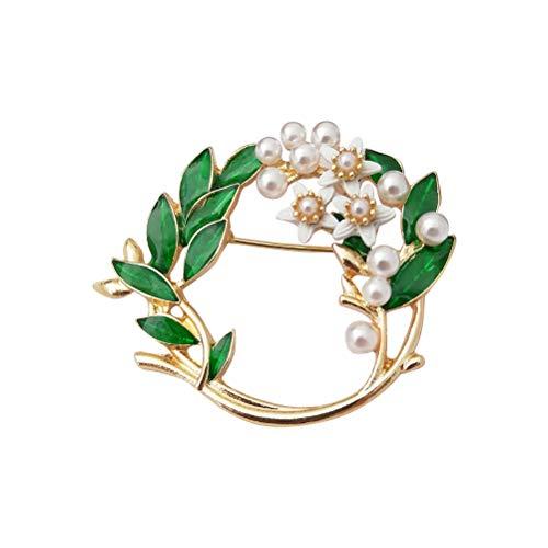 Amosfun Broche de boda Gardenia con flores y perlas, exquisito, broche de solapa, corpiño de aleación, accesorio para disfraz, regalo para mujeres (Garland)