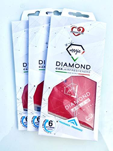 Profumi & Co Ambientador coche Diamond Magic La única fragancia inspirada en los perfumes personales más famosos – Dura 1 m y medio – Juego de 3 – Fabricado en Italia (La Belle Vie)