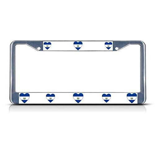 Love Heart EL Salvador Country Flag Metal License Plate Frame Tag Border Perfect for Men Women Car garadge Decor