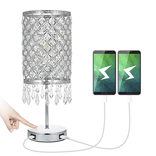 Tomshine Touch Control Bedside Table Lamp with 2 USB Charging Port Dimmable Modern Crystal Nightstand Lights for Bedroom Living Room(Bulb Included)