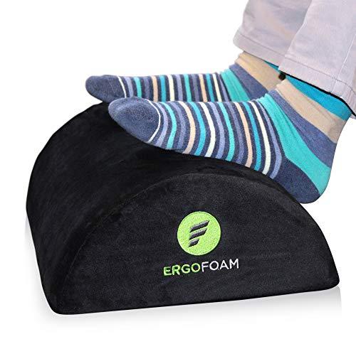 ErgoFoam Foot Rest Under Desk (Tall) - Large Premium Velvet Soft Foam Footrest for Desk   Most Comfortable Desk Foot Rest in The World for Back, Lumbar, Knee Pain   Foot Stool Rocker (Black)