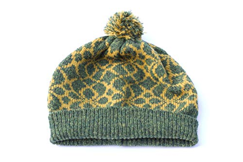 Grün Fair Isle Hut Pudelmütze Frühlingsmütze Damen Wollmütze Herren Wollmütze Shetland Wollmütze norwegische Mütze Wintermütze für Frauen