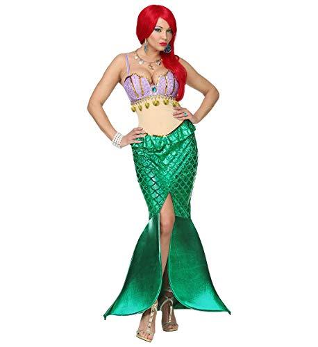 shoperama Disfraz de sirena para mujer, vestido de sirena, sexy, sujetador de concha, escamas de Ariel, talla M