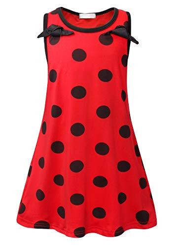 AmzBarley Miraculous Ladybug Kostüm Kleid Kinder Mädchen Marienkäfer Cosplay Kleider Schick Party Ankleiden Halloween Karneval Geburtstag Kleidung, Rot 02, 7-8 Jahre (Herstellergröße 130)