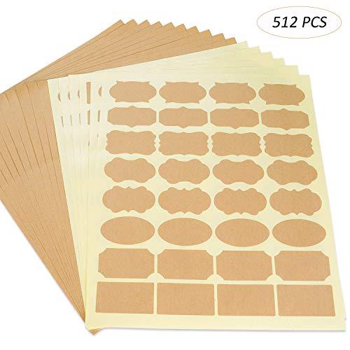 512 Pcs Labels for Jars,Kraft Paper Label Stickers for Essential Oil Bottle,Food Jar Bottle Labels Name Tags (16 Sheet)