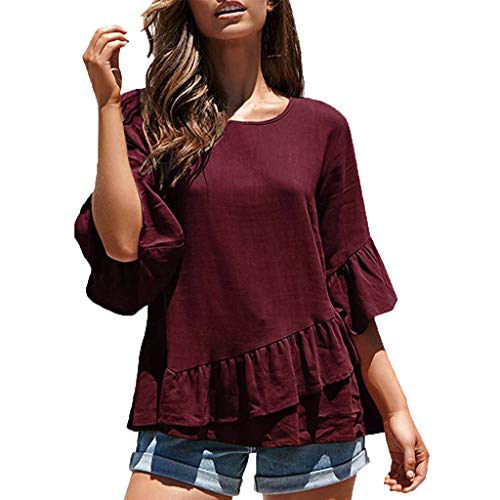 TOPKEAL Spring Half Sleeve - Ruffle-Saum Lässig Oberteil T-Shirt Damen Sommer Elegante Damen Bluse Tunika Frühling Causal Tops Mode 2020